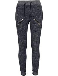Ladies Zipped Melange Sweatpants