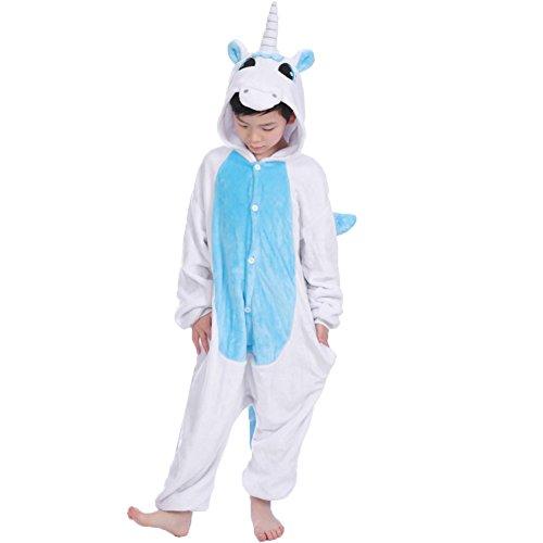 JT-Amigo Kinder Pyjama Strampler Schlafanzug Tier Kostüm für Halloween Karneval Fasching, Einhorn Blau Kostüm, Gr. 116/122 (Herstellergröße ()
