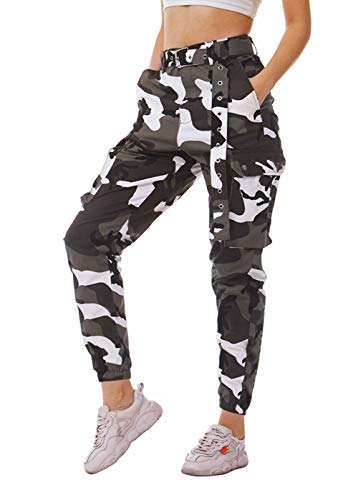 Idgreatim Damen Camouflage Hosen Casual Gym Jogger Military Army Print Sport Jogging Sport Camo Cargo Baumwollhosen Trainingsanzug Größe XS-XXL