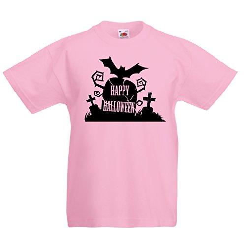Kinder T-Shirt Happy Halloween!!! (7-8 years Pink Mehrfarben)