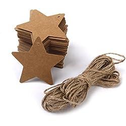 100 Etiquetas de Carton forma estrella marrón con cuerda de Yute