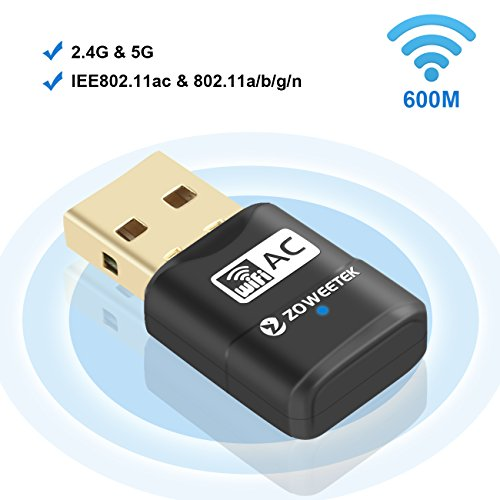ZOWEETEK 600Mbps Dual Band 2.4GHz / 5Ghz WiFi USB Dongle Wireless Network Adapter for Windows XP/7/8/10 and Mac 10.6~10.12
