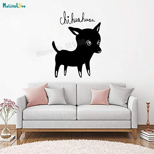 zhuziji Schöne Hund Wandaufkleber Chihuahua Tapete Dekoration Für Wohnzimmer Schlafzimmer Selbstklebende Vinyl Kunst Aufkleber schwarz 56x75 cm -