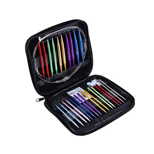 Akozon Rundstricknadel Kit,1 Set austauschbar 13 Größen 2.75mm-10mm mit rosa Gehäuse (Rosa Gemischt Garn)