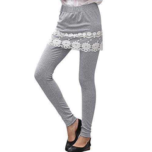 WOZOW Leggings Gamaschen Damen 2in1 Lace Spitze Hem Solid Einfarbig Anzughose Pachwork Long Hosen Casual High Waist Slim Fit Sporthose Jogginghose Sweathose Yoga Elegant Trousers