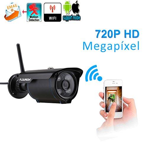 Floureon SP007 - 720P H.264 inalámbrico ONVIF CCTV, cámara IP, detección de movimiento, visión nocturna, P2P, Negro