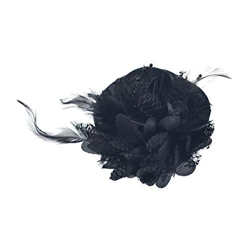 GOUNURE Frauen Lace Wide Brim Fedora Hats Elegante Bowler Cap mit Feder Haarspange für die Abendgesellschaft