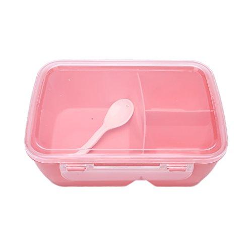 Sharplace Brotdose Lunchbox mit Löffel aus Kunststoff - Rosa, 20x14x7.3cm
