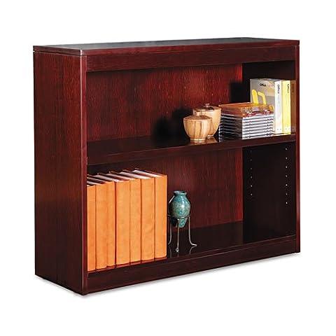 Square Corner Wood Veneer Bookcase, Two-Shelf, 35-5/8w x 11-3/4d x 30h, Mahogany, Sold as 1 Each