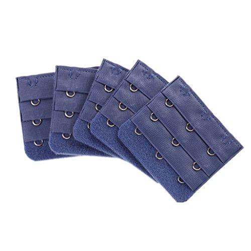 5pcs Elastische BH Verschluss Verlängerung mit 3 Haken - Blau, one size