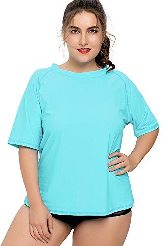 Charmleaks Damen Große Größen Uv-Shirt Langarm Lockes Geschnitten UV-Schutz (UPF) 50+ Solid Türkis XXXL
