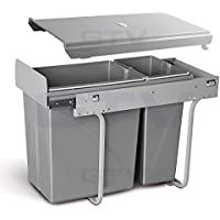 Cubo de basura extraíble de cierre suave para residuos de cocina y reciclables para un armario / puerta con bisagras de 300 mm, 20L + 10L