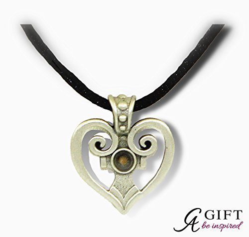 Cathedral Art FM105 Heart Pendant with Mustard Seed, Includes 22-Inch Black Satin Cord by Cathedral Art Mustard Cord