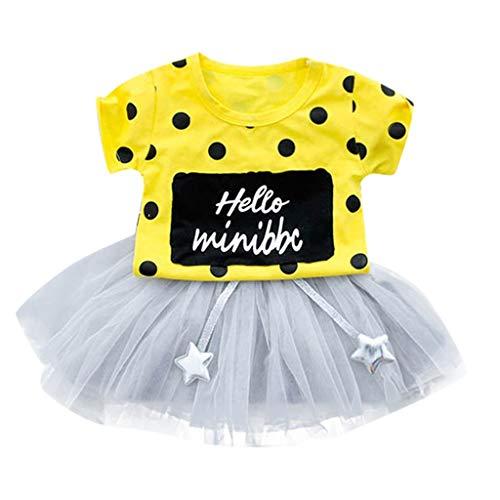 YWLINK Kleinkind Kid Mode MäDchen Polka Dot Kurze ÄRmel Tops + TüLl Rock Tutu Kleider Outfits Set(Gelb,18-24Monate) (Kleinkind Kuschelige Kuh Kostüme)