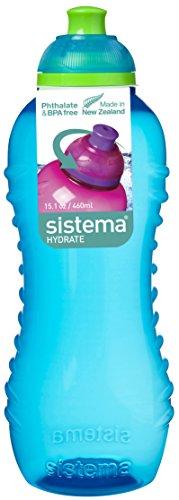Sistema - Bottiglia con Apertura ad avvitamento, 460 ml, Colore: Acqua