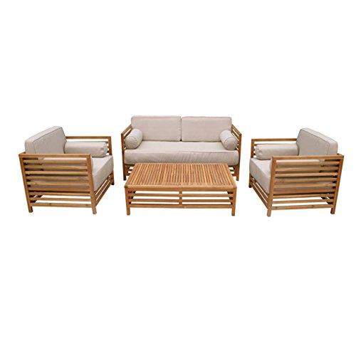 OUTLIV. Loungemöbel Holz Belray Loungegruppe 4-teilig Akazie braun/weiß Loungemöbel Outdoor Gartenlounge Set