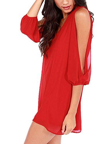 Junshan Robe été Femme Chemise Col V Mousseline Lâche Soie Loose A-robes Mode Dames Tunique Blouse Mini Rouge