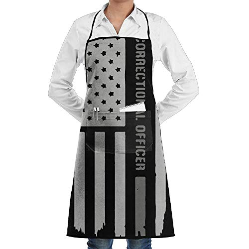 Miedhki Women/Men Long Aprons Thin Silver Line Correctional Officer Chef Sleeveless Anti-Fouling Overalls Portable Pocket Design Officer-overall