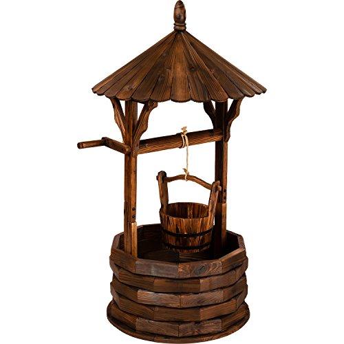 Gartenbrunnen aus Holz mit Dach, braun, Höhe 120cm, Durchmesser 65cm, geölt und brandbehandelt