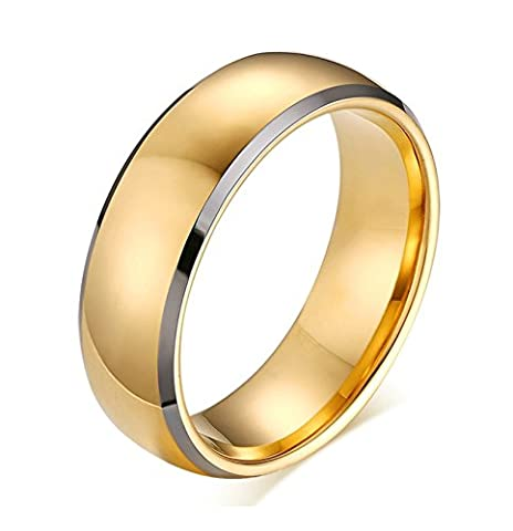SanJiu Jewelry Unisex Wedding Engagement Rings Tungsten Carbide Ring 8MM Simple Style Promise Anniversary Engagement Charm Ring for Men and Women Gold Size V