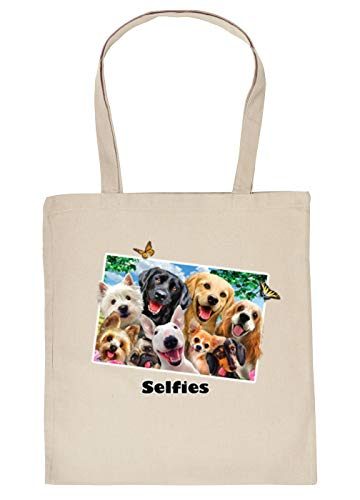 Stoff-Tasche - lustiges Hunde Motiv - buntes Hunde Foto - Hunde-Selfie/Schmetterlinge : Selfie Hunde - Einkaufstasche/Baumwolltasche - Farbe: Creme