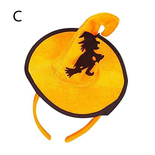 (Qiusa Halloween einzigartige Design Spider Kürbis Fledermäuse Geister Cap Hoop Kurze Plüsch Haarband (Farbe : C))