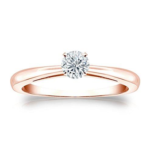 0.25ct Taglio Rotondo Cubic Zirconia Solitaire anello di fidanzamento in 9ct oro (0.25 Ct Anello Di Fidanzamento Anello Di Fidanzamento)