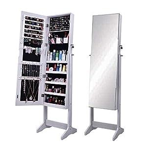 soges Spiegelschrank Schmuckschrank Schmuckaufbewahrung mit Full-Length Mirror, Kosmetikspiegel Schminkspiegel,In elegantem Kirschholz-Finish, Abschließbar und Freistehenden,Farbe in Weiß