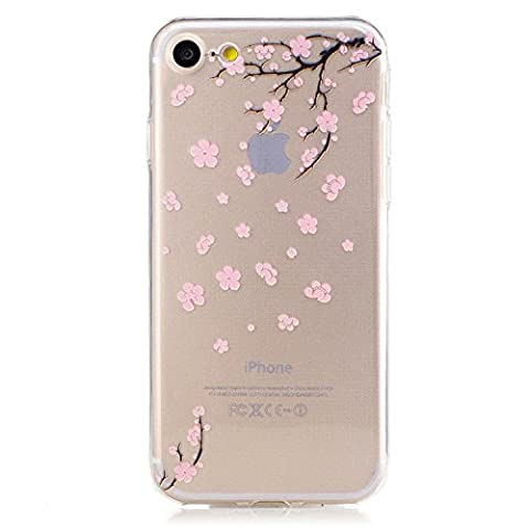 iphone 7 Clear Case,Transparent Rubber Case for iphone 7,Meet de Clear Shock Proof Soft Durable Scratch Resistant Jelly Rubber TPU Protective Case Cover Skin Shell for iphone 7 with Beautiful Colourful Pattern Design-Pink flowers