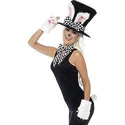 Smiffys Damen Teeparty Hasen Set, Zylinder mit Hasenohren, Handschuhe, Schlips und Schwanz, One Size, 45023