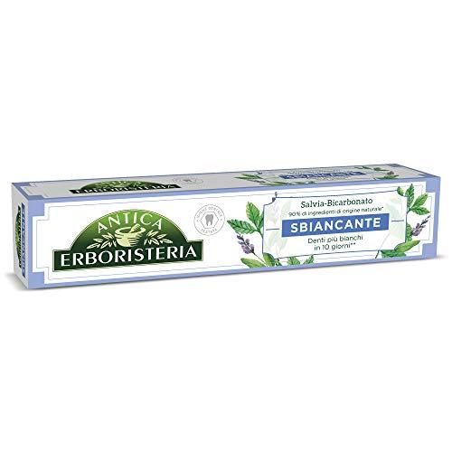 antica erboristeria dentifricio sbiancante antimacchia con ingredienti naturali, gusto salvia e bicarbonato, 1 x 75 ml