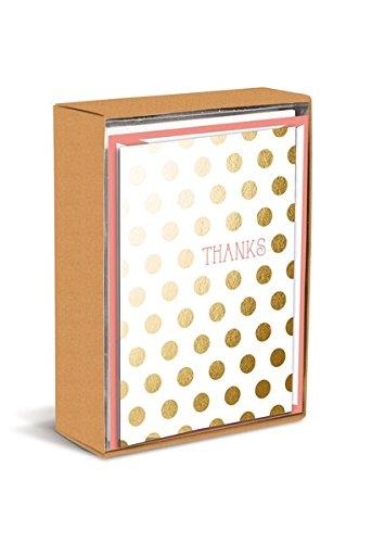 Boxed Notes: Gold Polkadots - Gruß- und Geschenkkartenbox mit Kuverts: Goldene Punkte