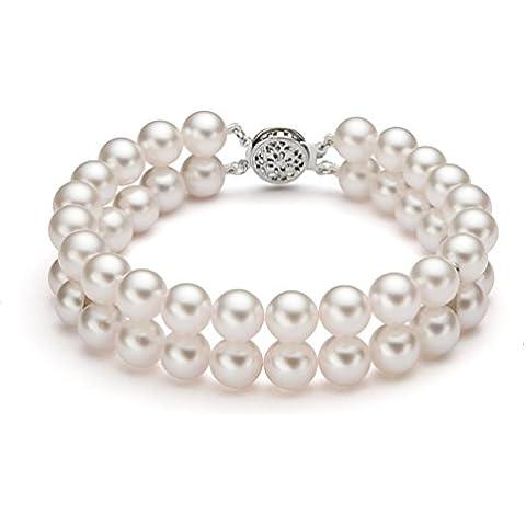 14 K oro blanco doble hebra blanco pulsera de perlas de Akoya japonés cultivada, 20,32 cm