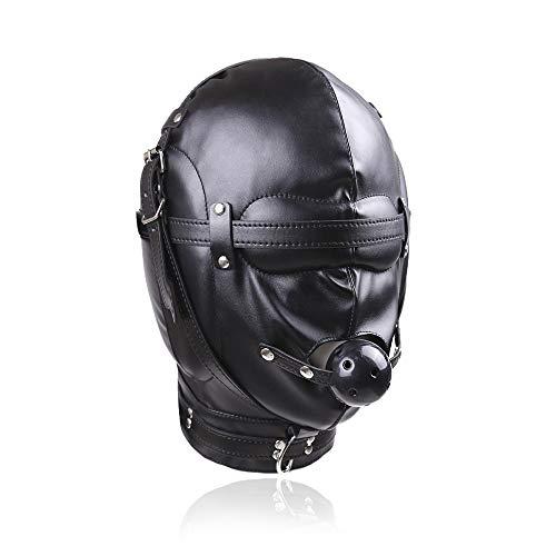 Diorerr Leder Bondage Maske, Schwarz Weich Schwamm Fetisch Maske GüRtel Ball Gag Kopfbedeckung Gimp Cosplay