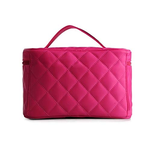 Make-up Box, einfache rhombische quadratische tragbare Kosmetiktasche, tragbare Reise-Kosmetik-Etui, Beauty Nail Jewelry Storage Box (Color : Rose Red)