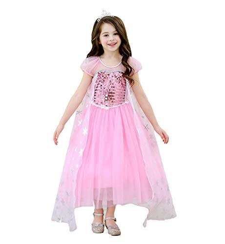 zessin Kleid ELSA Kostüm mit Krone Pailletten Cernival Party Kostümrock Karneval Outfit (L 121-130cm, Rosa) ()