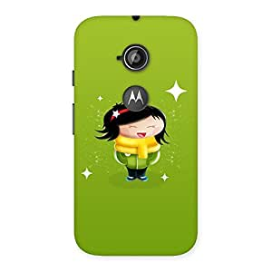 Delighted Laughing Cute Girl Print Back Case Cover for Moto E 2nd Gen