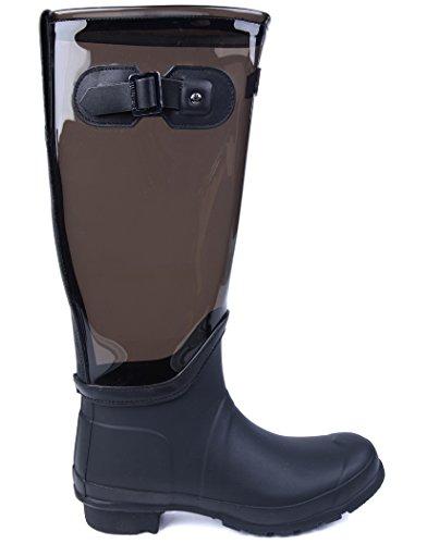 Hunter Original Clear Leg Femme Boots Noir Gris - Gris