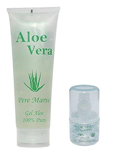 Aloe Vera Gel 100% Feuchtigkeitspflege Reise Set 250 ml Tube + 30 ml Nachfüll Dosierer für Handgepäck