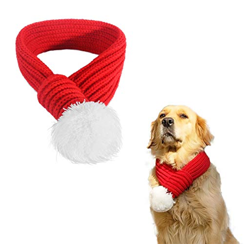 PEDOMUS Haustier Kostüm Weihnachten Schal rot Pet Schal Haustier Bekleidung für Hunde Größe L