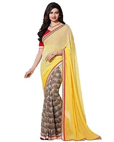 saree center Georgette Saree With Blouse Piece (_Yellow_Free Size)