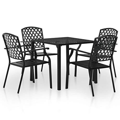 Tidyard- Garten-Essgruppe 5-TLG. Gartenmöbel Set Stahl Lattenrost Gartenstuhl Stapelbar Terrassenstuhl Tisch und Stuhl Set für Außen- und Inneneinsatz