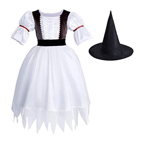 FYMNSI Kinder Mädchen Halloween Hexe Kostüm Festliche Prinzessin Tüll Magische Hexenkleid mit Hexenhut Zauberer Set Karneval Fasching Party Cospaly Verkleiden Kleidung Weiß 6-7 - Deluxe Zauberer Verkleiden Kostüm