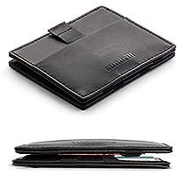 Sundrill - Magic Wallet con scomparto per monete in pelle - portafogli a falda con cerniera - piccolo e sottile - nero