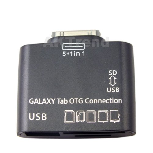 AKTrend® - 5 in 1 USB OTG Connection Kit Kartenleser für Samsung Galaxy Tab 10.1 , 8.9 , 7.7 , P5100 , P5110 , P7500 , P7100 , P7300 , P6800 , Unterstützt MS , SD , SDHC , MMC , MMC2 , RS-MMC , SD ULTRA2 , EXTREME SD , Extreme 3 SD , TF (Micro-SD) mit USB Anschluss für Tastatur , Maus und Festplatten Card Reader für Samsung Galaxy Note 10.1 N8000 , N8010 , LTE GT-N8020 , Tab , Tab 2 , Tab2 , 7.0 , 8.9 , 10.1 , USB Sticks, CardReader (OTG USB Host, USB, micro USB, SD/MMC, Micro-SD, TF) 5in1 Kamera Camera Connection Kit Verbindungsstation Für Galaxy Note 10.1 GT-N8000, GT-N8010, LTE GT-N8020, Galaxy Tab 7.0 GT-P3113, etc.