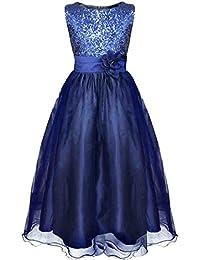 iEFiEL Robe de Mariage Filles Demoiselle d'Honneur Corsage Paillettes Robe Enfant 4 -14 Ans