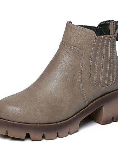 ShangYi Mode Frauen Schuhe Damen Stiefel Frühjahr / Herbst Reitstiefel / Kletterpflanzen Kunstleder Outdoor Plattform andere Schwarz / Grau Wandern Schwarz