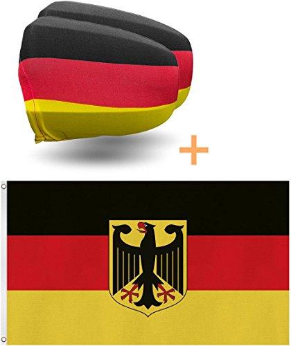 GearUp Deutschland-Fahne + Spiegelfahnen Außenspiegel-Hussen Set Deutschland-Flagge mit Adler (90x150 cm oder 150x250cm wählbar) - WM 2018 Autokorso-Set Größe 150 cm x 250 cm