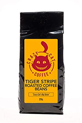Crazy Cat Tiger Stripe Coffee Beans, Strength 4, Blend of Indian Beans, Full Bodied, Rich, Dark Flavour, Roasted to Perfection 250g from Crazy Cat Coffee Ltd