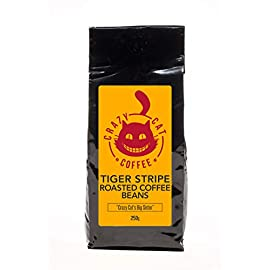 Crazy Cat Tiger Stripe Coffee Beans, Strength 4, Blend of Indian Beans, Full Bodied, Rich, Dark Flavour, Roasted to Perfection 250g
